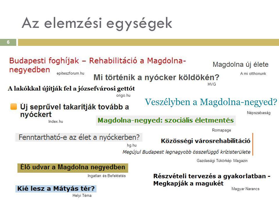 A SAJTÓKÉP – módszerek II.