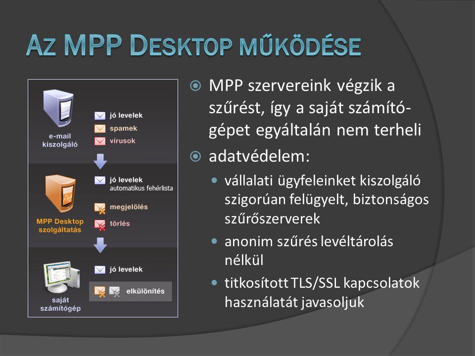 MPP szervereink végzik a szűrést, így a saját számító- gépet egyáltalán nem terheli  adatvédelem: vállalati ügyfeleinket kiszolgáló szigorúan felügyelt, biztonságos szűrőszerverek anonim szűrés levéltárolás nélkül titkosított TLS/SSL kapcsolatok használatát javasoljuk