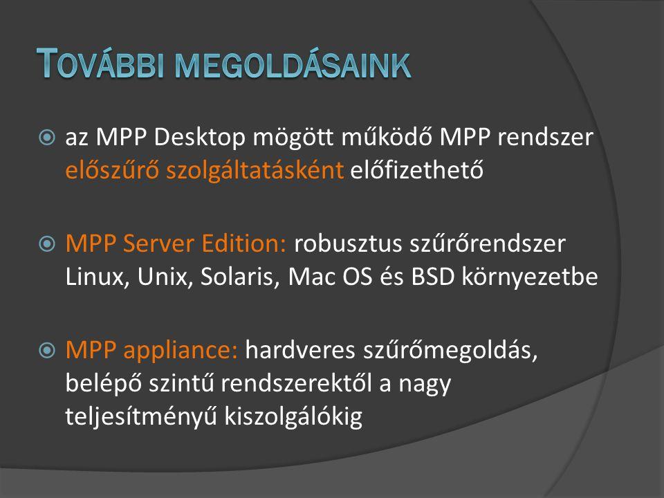  az MPP Desktop mögött működő MPP rendszer előszűrő szolgáltatásként előfizethető  MPP Server Edition: robusztus szűrőrendszer Linux, Unix, Solaris, Mac OS és BSD környezetbe  MPP appliance: hardveres szűrőmegoldás, belépő szintű rendszerektől a nagy teljesítményű kiszolgálókig