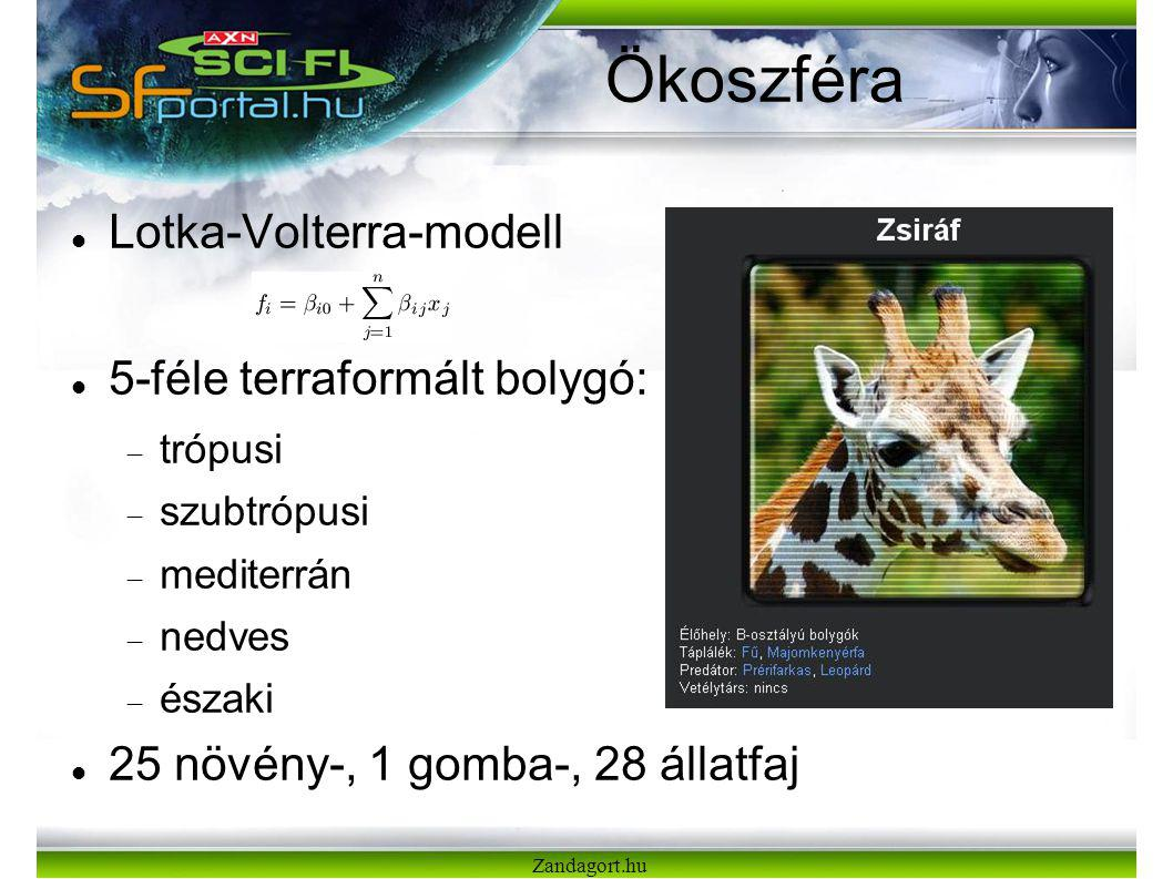 Zandagort.hu Ökoszféra Lotka-Volterra-modell 5-féle terraformált bolygó:  trópusi  szubtrópusi  mediterrán  nedves  északi 25 növény-, 1 gomba-, 28 állatfaj