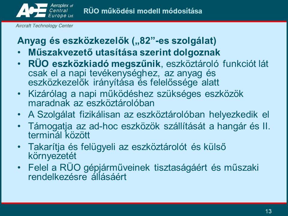 """13 RÜO működési modell módosítása Anyag és eszközkezelők (""""82""""-es szolgálat) Műszakvezető utasítása szerint dolgoznak RÜO eszközkiadó megszűnik, eszkö"""