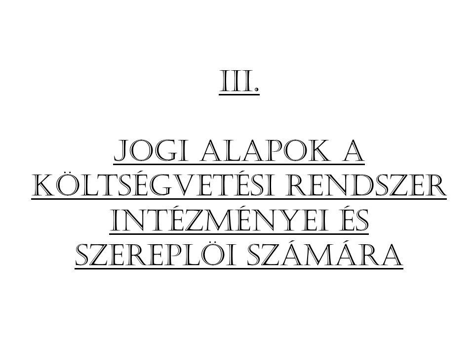 Iii. Jogi alapok a költségvetési rendszer intézményei és szereplöi számára
