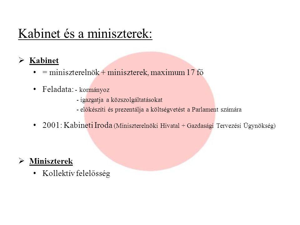 Kabinet és a miniszterek:  Kabinet = miniszterelnök + miniszterek, maximum 17 fő Feladata: - kormányoz - igazgatja a közszolgáltatásokat - előkészíti