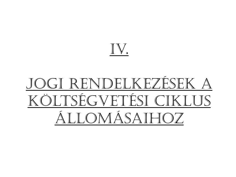 Iv. Jogi rendelkezések a költségvetési ciklus állomásaihoz