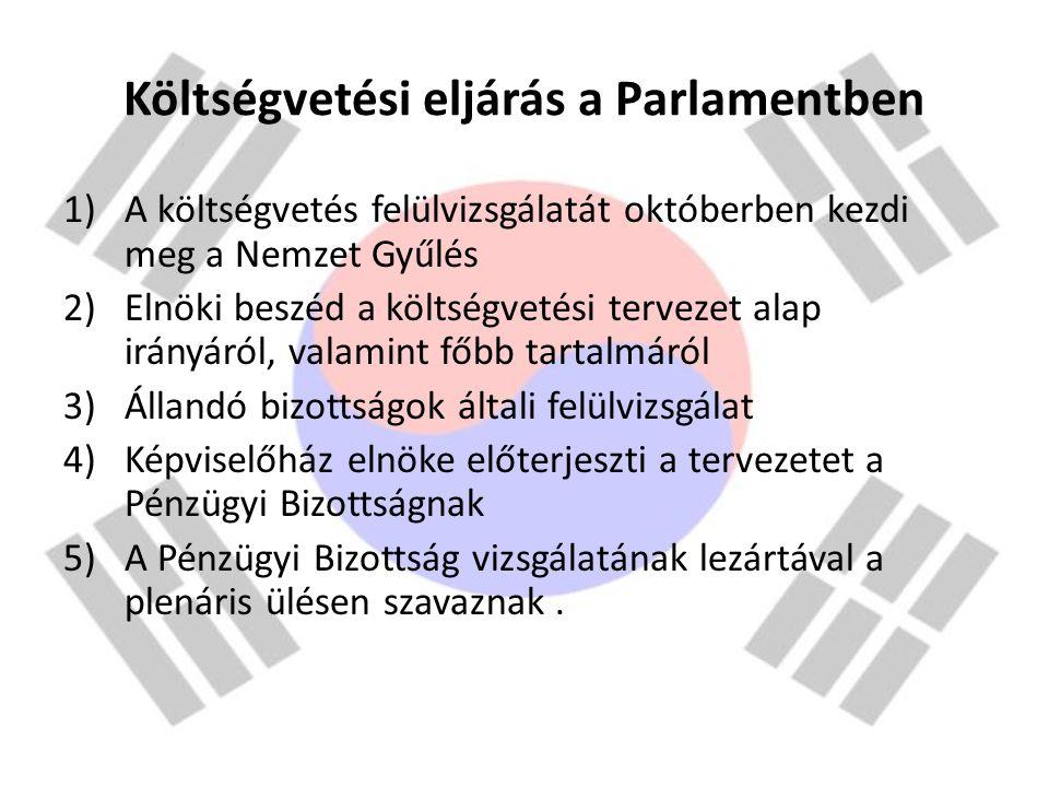 Költségvetési eljárás a Parlamentben 1)A költségvetés felülvizsgálatát októberben kezdi meg a Nemzet Gyűlés 2)Elnöki beszéd a költségvetési tervezet a