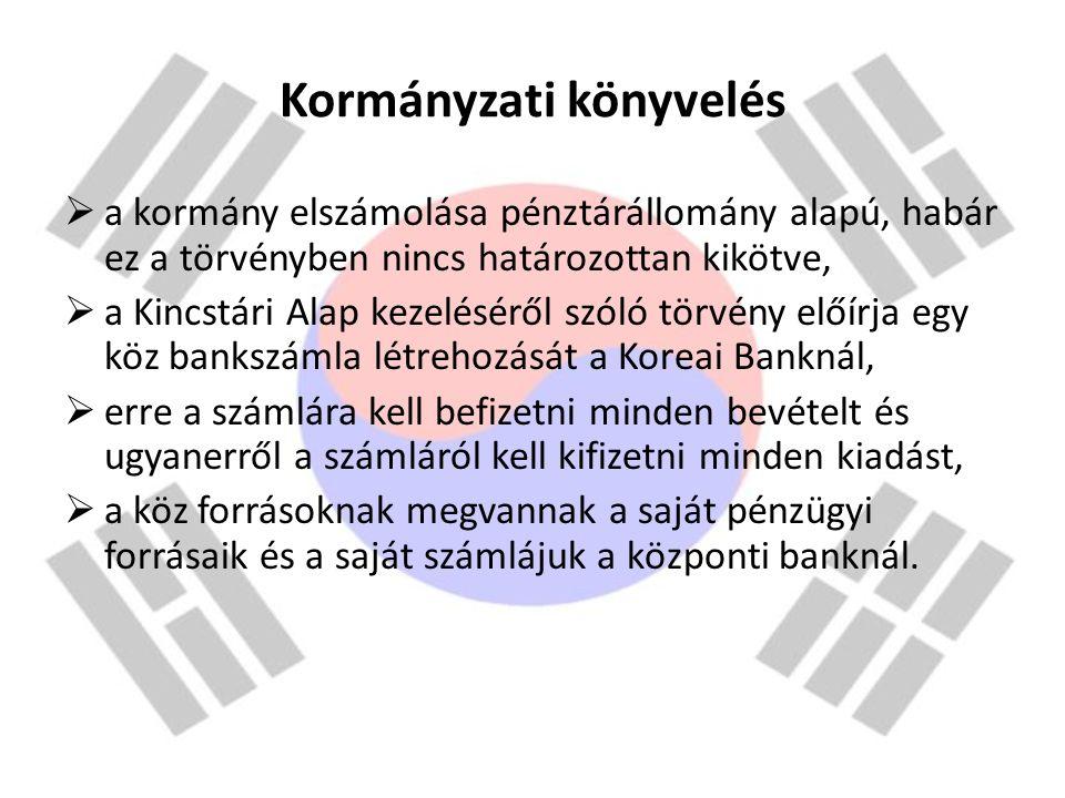 Kormányzati könyvelés  a kormány elszámolása pénztárállomány alapú, habár ez a törvényben nincs határozottan kikötve,  a Kincstári Alap kezeléséről