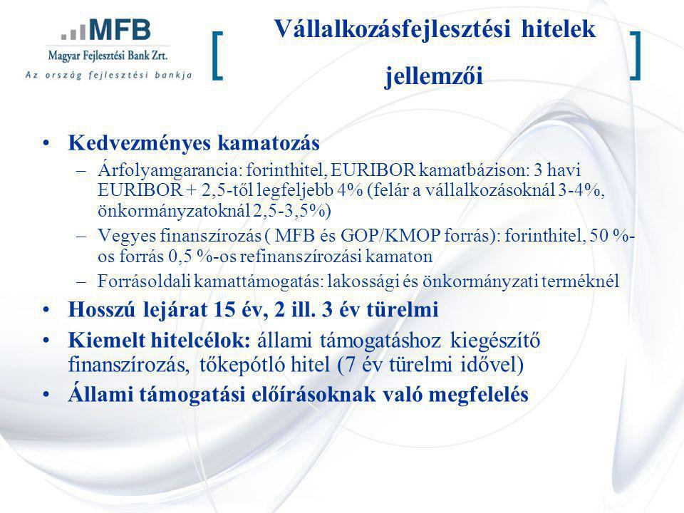 Vállalkozásfejlesztési hitelek jellemzői Kedvezményes kamatozás –Árfolyamgarancia: forinthitel, EURIBOR kamatbázison: 3 havi EURIBOR + 2,5-től legfelj