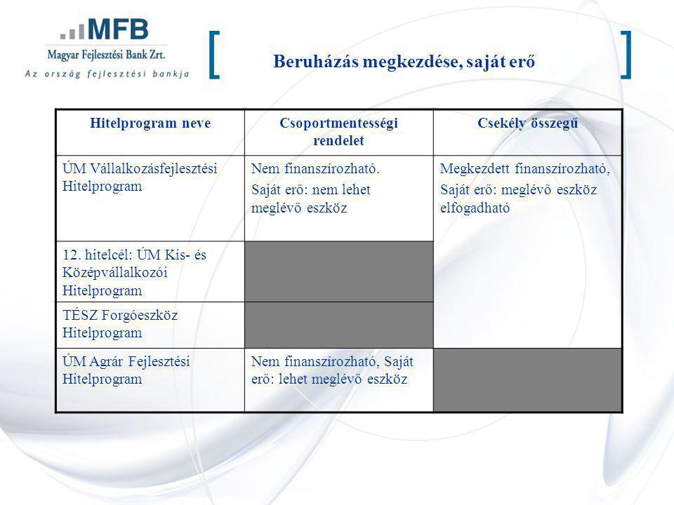 Beruházás megkezdése, saját erő [] Hitelprogram neveCsoportmentességi rendelet Csekély összegű ÚM Vállalkozásfejlesztési Hitelprogram Nem finanszírozh