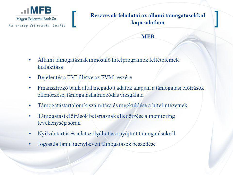 Részvevők feladatai az állami támogatásokkal kapcsolatban MFB [] Állami támogatásnak minősülő hitelprogramok feltételeinek kialakítása Bejelentés a TV