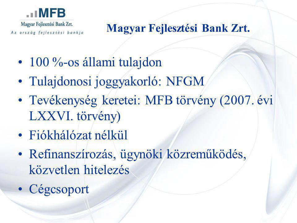 Magyar Fejlesztési Bank Zrt. 100 %-os állami tulajdon Tulajdonosi joggyakorló: NFGM Tevékenység keretei: MFB törvény (2007. évi LXXVI. törvény) Fiókhá