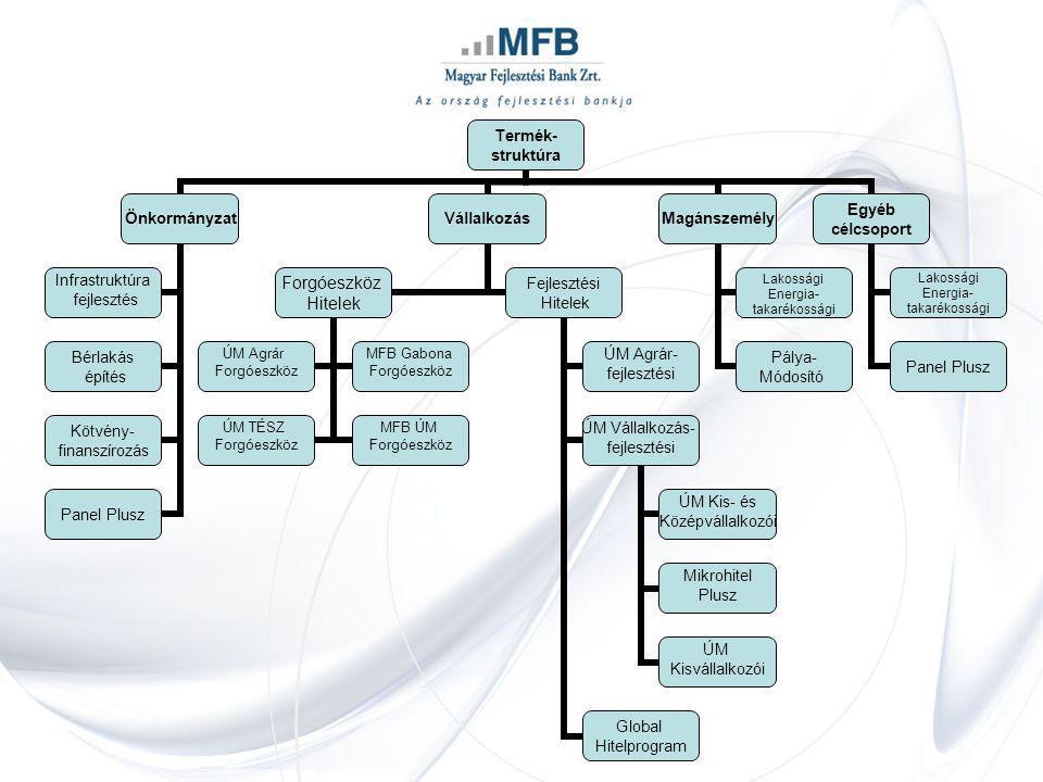 Termék- struktúra Önkormányzat Infrastruktúra fejlesztés Bérlakás építés Kötvény- finanszírozás Panel Plusz Vállalkozás Forgóeszköz Hitelek ÚM Agrár F