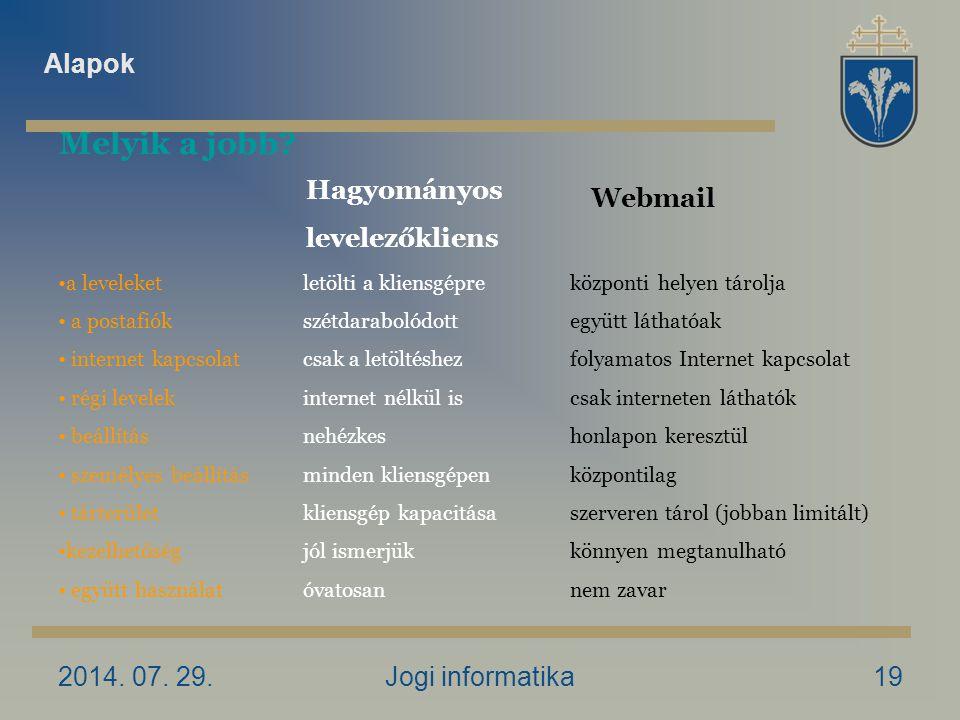 2014. 07. 29.Jogi informatika19 Melyik a jobb.