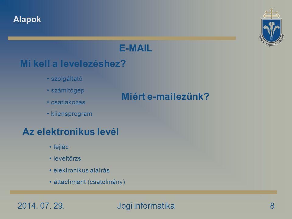 2014. 07. 29.Jogi informatika8 Miért e-mailezünk.