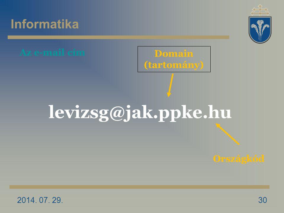 2014. 07. 29.30 Domain (tartomány) levizsg@jak.ppke.hu Országkód Az e-mail cím Informatika
