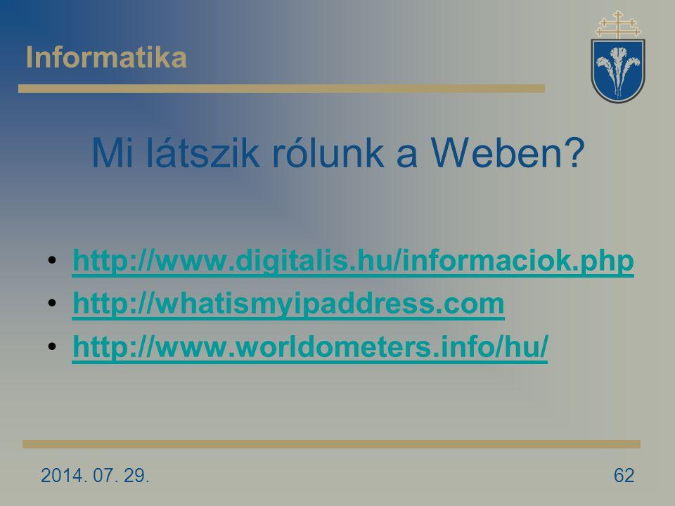 2014. 07. 29.62 Mi látszik rólunk a Weben.