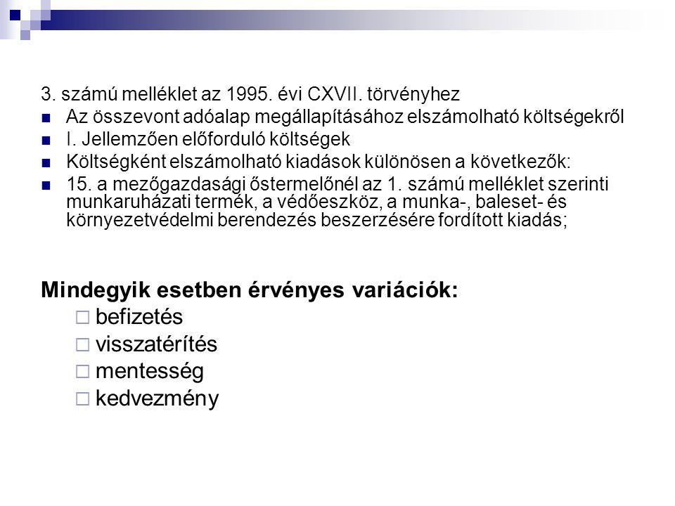 3.számú melléklet az 1995. évi CXVII.