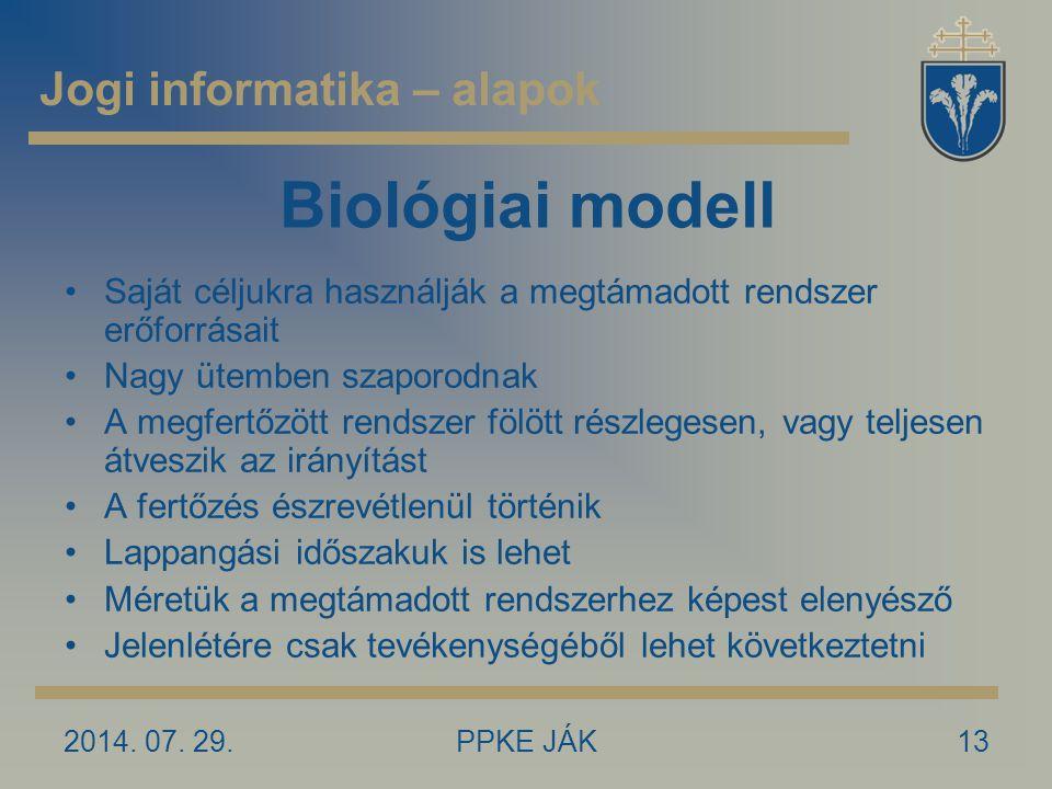 2014. 07. 29.PPKE JÁK13 Biológiai modell Saját céljukra használják a megtámadott rendszer erőforrásait Nagy ütemben szaporodnak A megfertőzött rendsze