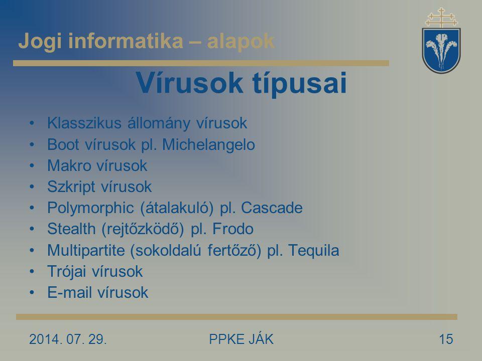 2014. 07. 29.PPKE JÁK15 Vírusok típusai Klasszikus állomány vírusok Boot vírusok pl. Michelangelo Makro vírusok Szkript vírusok Polymorphic (átalakuló