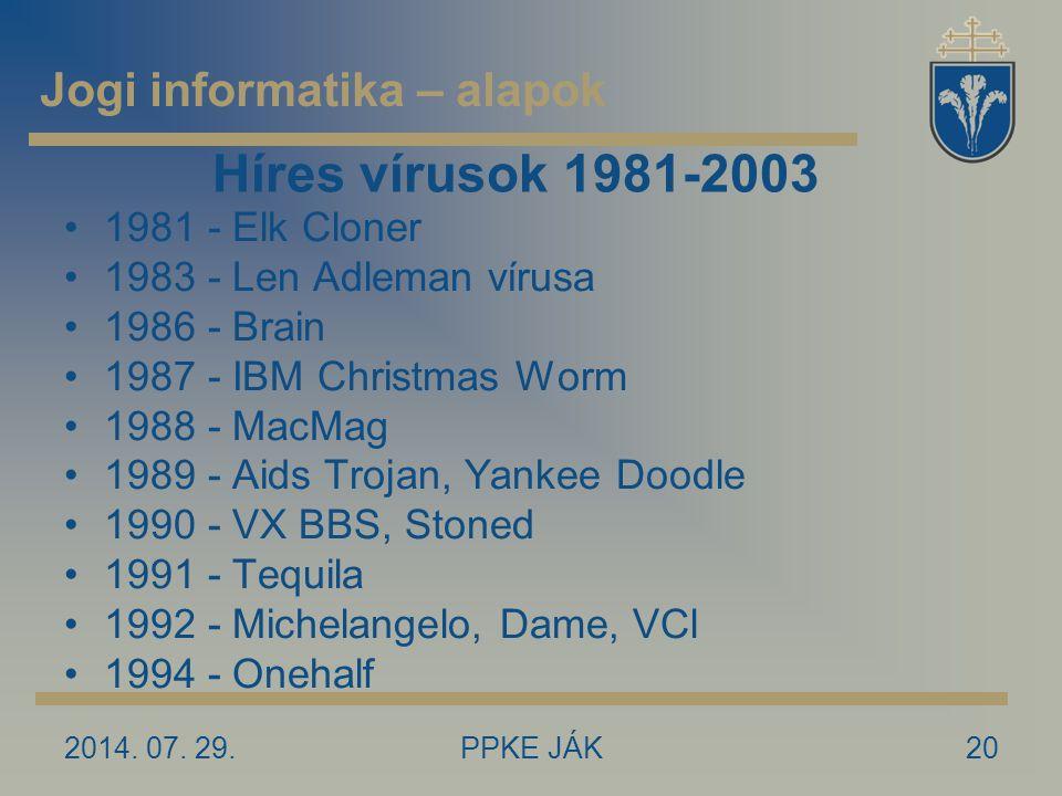 2014. 07. 29.PPKE JÁK20 Híres vírusok 1981-2003 1981 - Elk Cloner 1983 - Len Adleman vírusa 1986 - Brain 1987 - IBM Christmas Worm 1988 - MacMag 1989