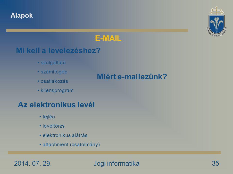 2014. 07. 29.Jogi informatika35 Miért e-mailezünk? Mi kell a levelezéshez? szolgáltató számítógép csatlakozás kliensprogram Az elektronikus levél fejl