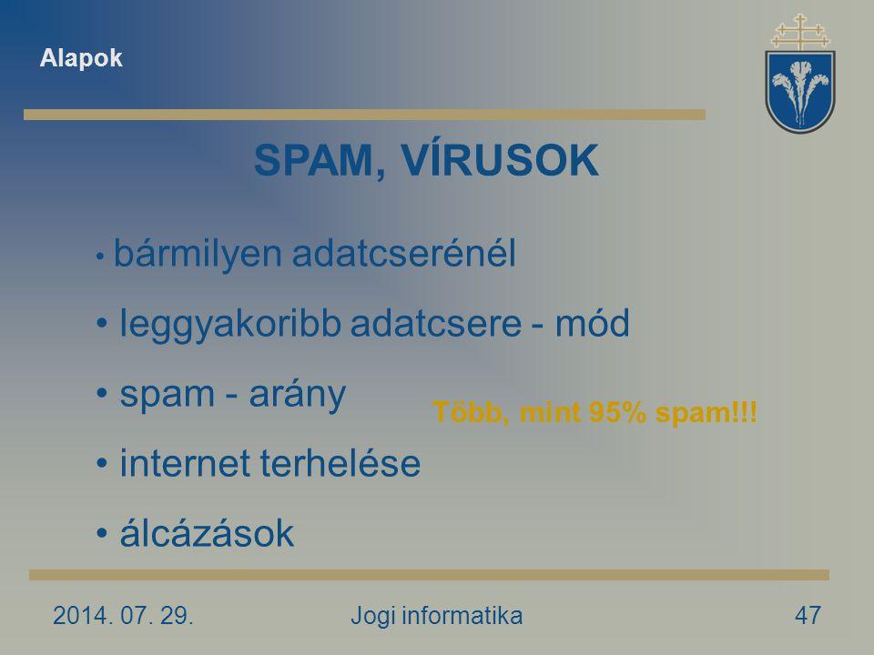 2014. 07. 29.Jogi informatika47 SPAM, VÍRUSOK bármilyen adatcserénél leggyakoribb adatcsere - mód spam - arány internet terhelése álcázások Alapok Töb
