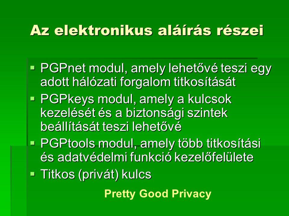 Az elektronikus aláírás részei PPPPGPnet modul, amely lehetővé teszi egy adott hálózati forgalom titkosítását PPPPGPkeys modul, amely a kulcsok kezelését és a biztonsági szintek beállítását teszi lehetővé PPPPGPtools modul, amely több titkosítási és adatvédelmi funkció kezelőfelülete TTTTitkos (privát) kulcs Pretty Good Privacy