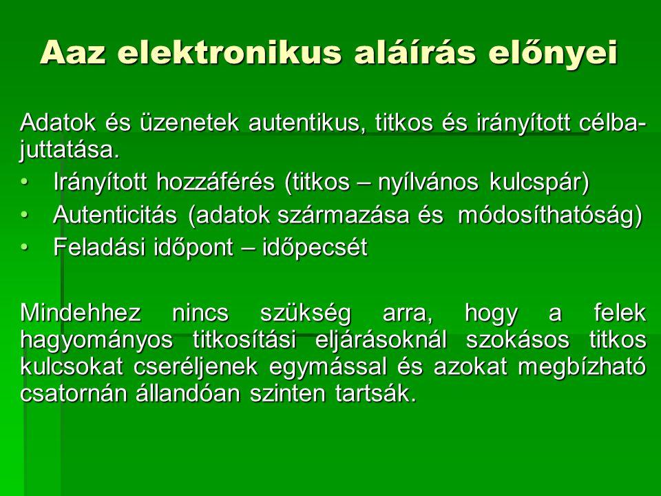 Magyarországi jogi szabályozás Megadja az aláírási szinteket és ehhez hozzárendeli a dokumentum típusát  Teszt elektronikus aláírás – a jogszabály nem foglalkozik vele  Fokozott biztonságú elektronikus aláírás – megjelölt irattípus  Minősített elektronikus aláírás – megjelölt irattípus