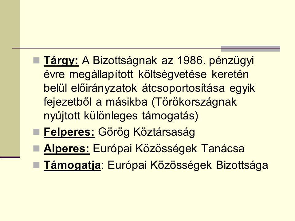Tárgy: A Bizottságnak az 1986. pénzügyi évre megállapított költségvetése keretén belül előirányzatok átcsoportosítása egyik fejezetből a másikba (Törö