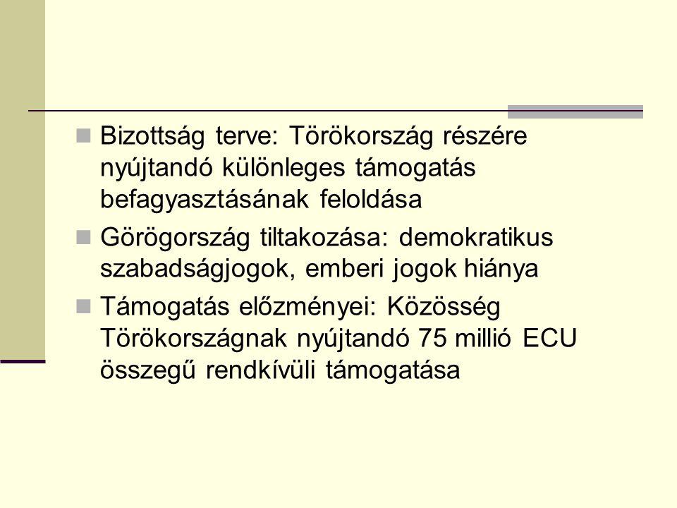 Bizottság terve: Törökország részére nyújtandó különleges támogatás befagyasztásának feloldása Görögország tiltakozása: demokratikus szabadságjogok, emberi jogok hiánya Támogatás előzményei: Közösség Törökországnak nyújtandó 75 millió ECU összegű rendkívüli támogatása