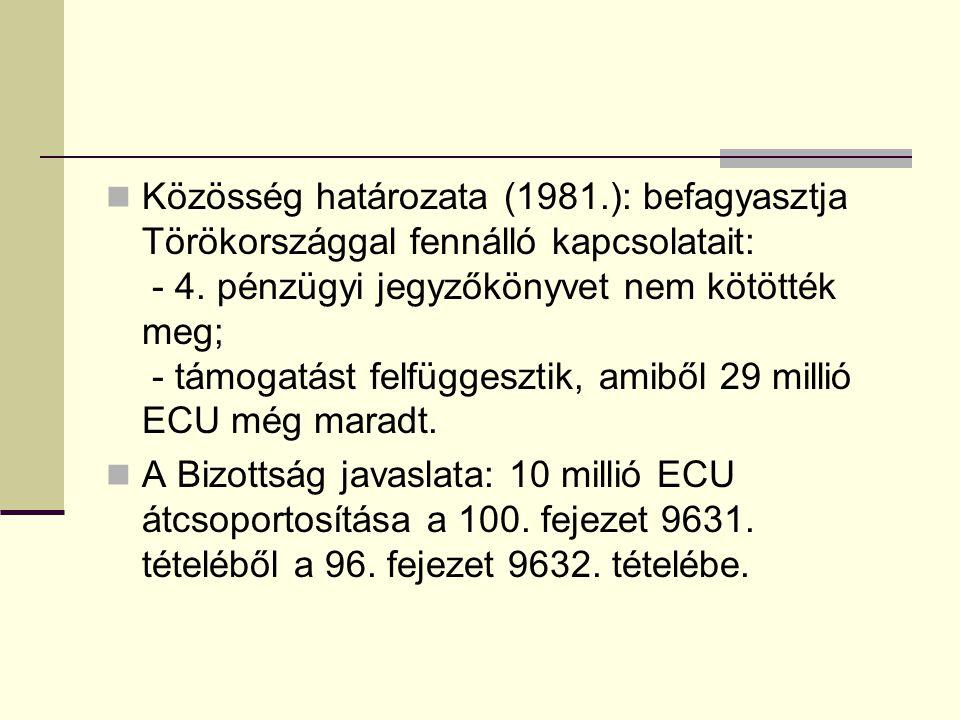 Közösség határozata (1981.): befagyasztja Törökországgal fennálló kapcsolatait: - 4. pénzügyi jegyzőkönyvet nem kötötték meg; - támogatást felfüggeszt