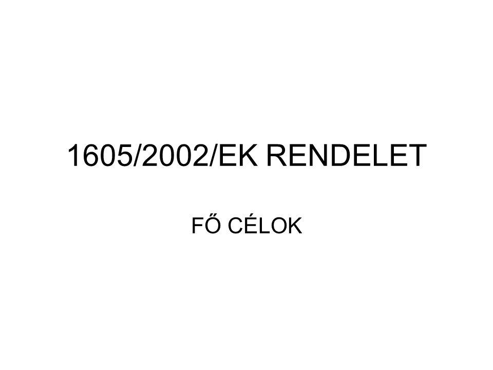 1605/2002/EK RENDELET FŐ CÉLOK