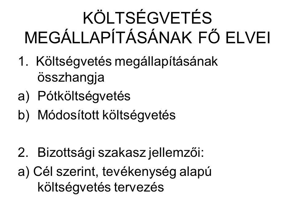 KÖLTSÉGVETÉS MEGÁLLAPÍTÁSÁNAK FŐ ELVEI 1.