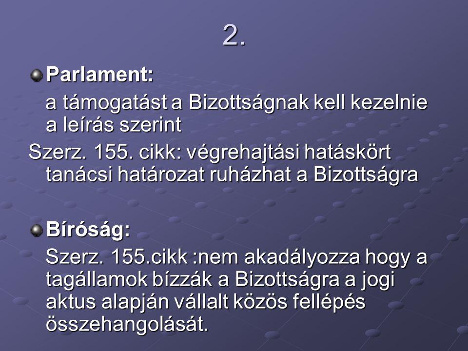 2. Parlament: a támogatást a Bizottságnak kell kezelnie a leírás szerint a támogatást a Bizottságnak kell kezelnie a leírás szerint Szerz. 155. cikk: