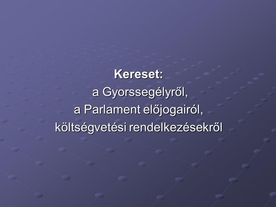 Kereset: a Gyorssegélyről, a Gyorssegélyről, a Parlament előjogairól, költségvetési rendelkezésekről