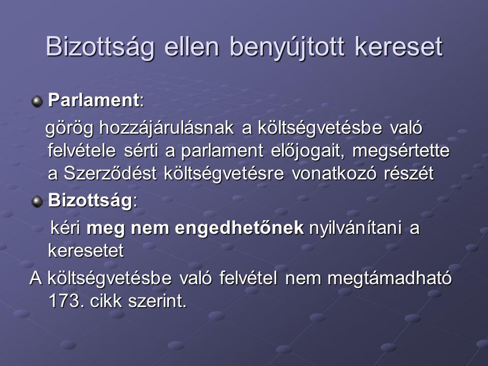 Bizottság ellen benyújtott kereset Parlament: görög hozzájárulásnak a költségvetésbe való felvétele sérti a parlament előjogait, megsértette a Szerződést költségvetésre vonatkozó részét görög hozzájárulásnak a költségvetésbe való felvétele sérti a parlament előjogait, megsértette a Szerződést költségvetésre vonatkozó részét Bizottság: kéri meg nem engedhetőnek nyilvánítani a keresetet kéri meg nem engedhetőnek nyilvánítani a keresetet A költségvetésbe való felvétel nem megtámadható 173.