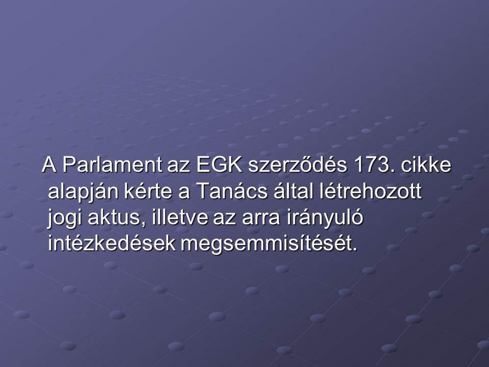 A Parlament az EGK szerződés 173.