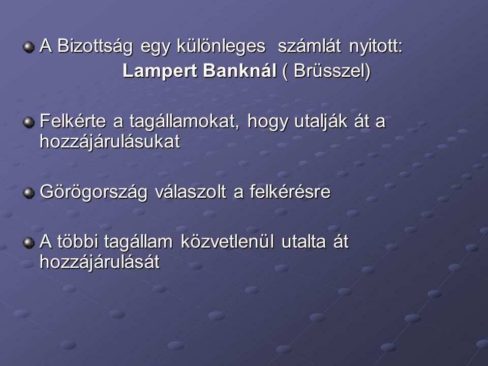 A Bizottság egy különleges számlát nyitott: Lampert Banknál ( Brüsszel) Lampert Banknál ( Brüsszel) Felkérte a tagállamokat, hogy utalják át a hozzájárulásukat Görögország válaszolt a felkérésre A többi tagállam közvetlenül utalta át hozzájárulását