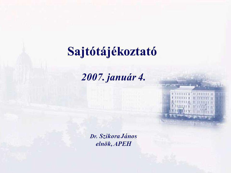 Sajtótájékoztató 2007. január 4. Dr. Szikora János elnök, APEH