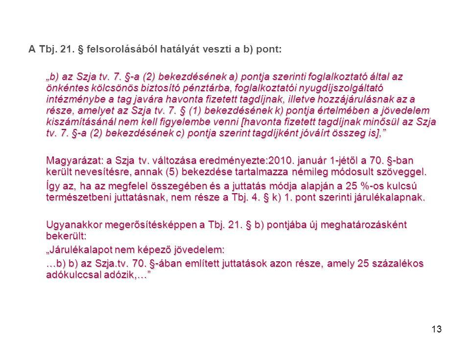 """13 A Tbj. 21. § felsorolásából hatályát veszti a b) pont: """"b) az Szja tv. 7. §-a (2) bekezdésének a) pontja szerinti foglalkoztató által az önkéntes k"""