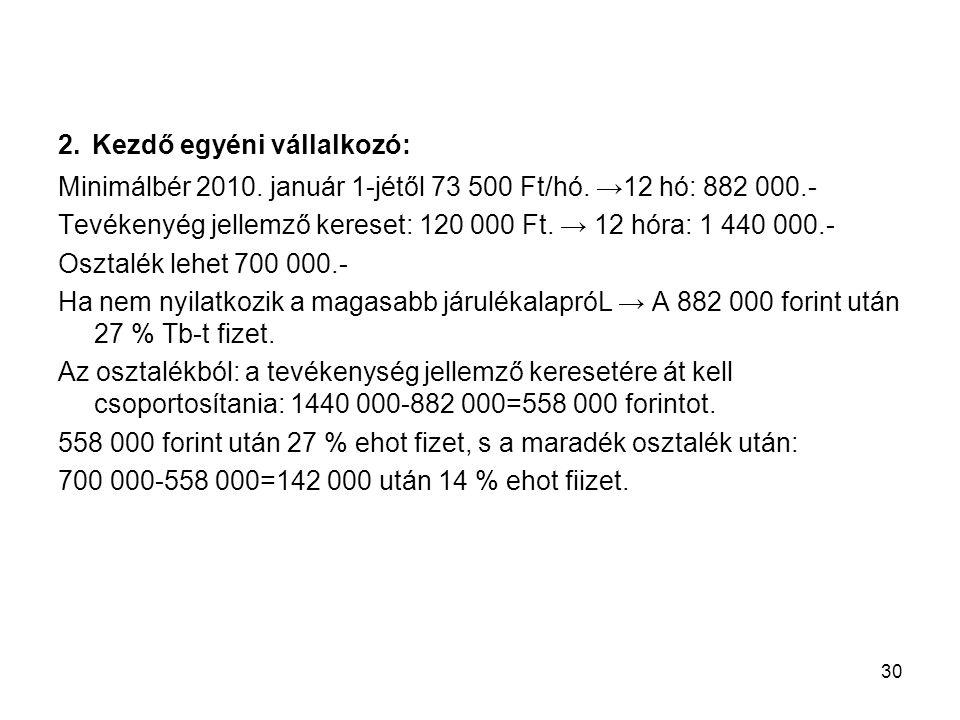 30 2. Kezdő egyéni vállalkozó: Minimálbér 2010. január 1-jétől 73 500 Ft/hó. →12 hó: 882 000.- Tevékenyég jellemző kereset: 120 000 Ft. → 12 hóra: 1 4