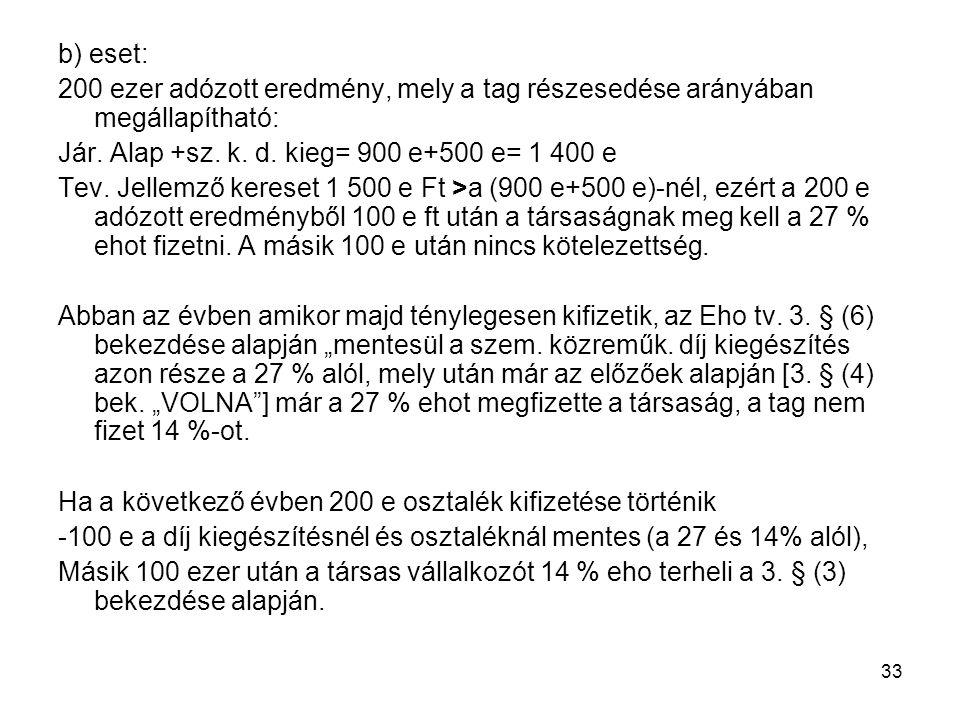 33 b) eset: 200 ezer adózott eredmény, mely a tag részesedése arányában megállapítható: Jár. Alap +sz. k. d. kieg= 900 e+500 e= 1 400 e Tev. Jellemző