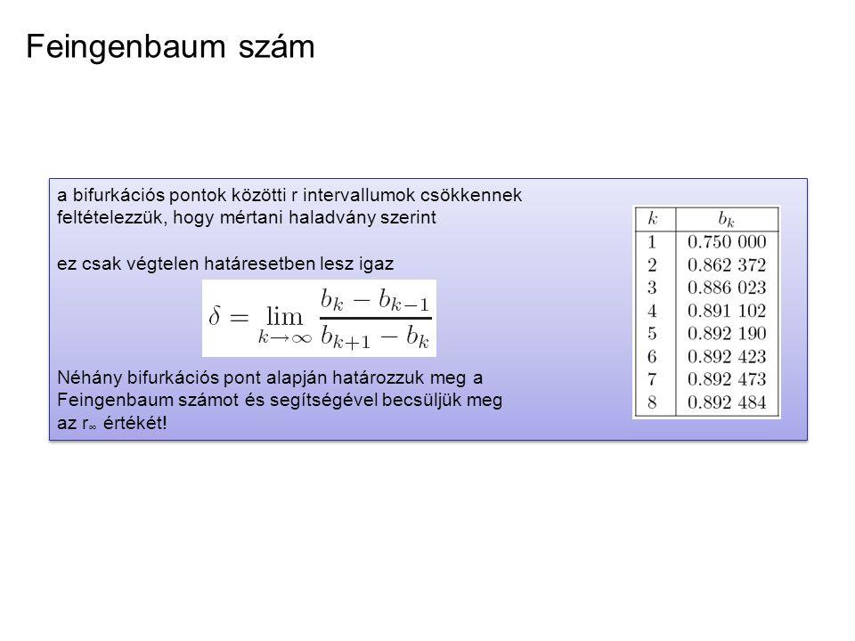 Feingenbaum szám a bifurkációs pontok közötti r intervallumok csökkennek feltételezzük, hogy mértani haladvány szerint ez csak végtelen határesetben l