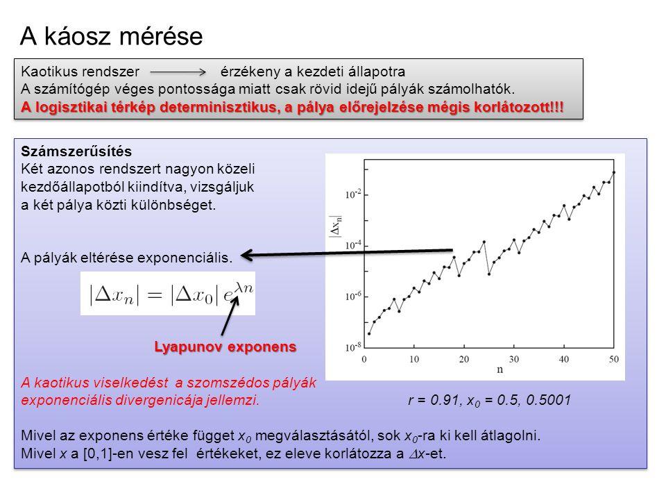 A káosz mérése Kaotikus rendszerérzékeny a kezdeti állapotra A számítógép véges pontossága miatt csak rövid idejű pályák számolhatók. A logisztikai té