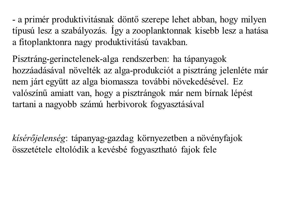 - a primér produktivitásnak döntő szerepe lehet abban, hogy milyen típusú lesz a szabályozás.