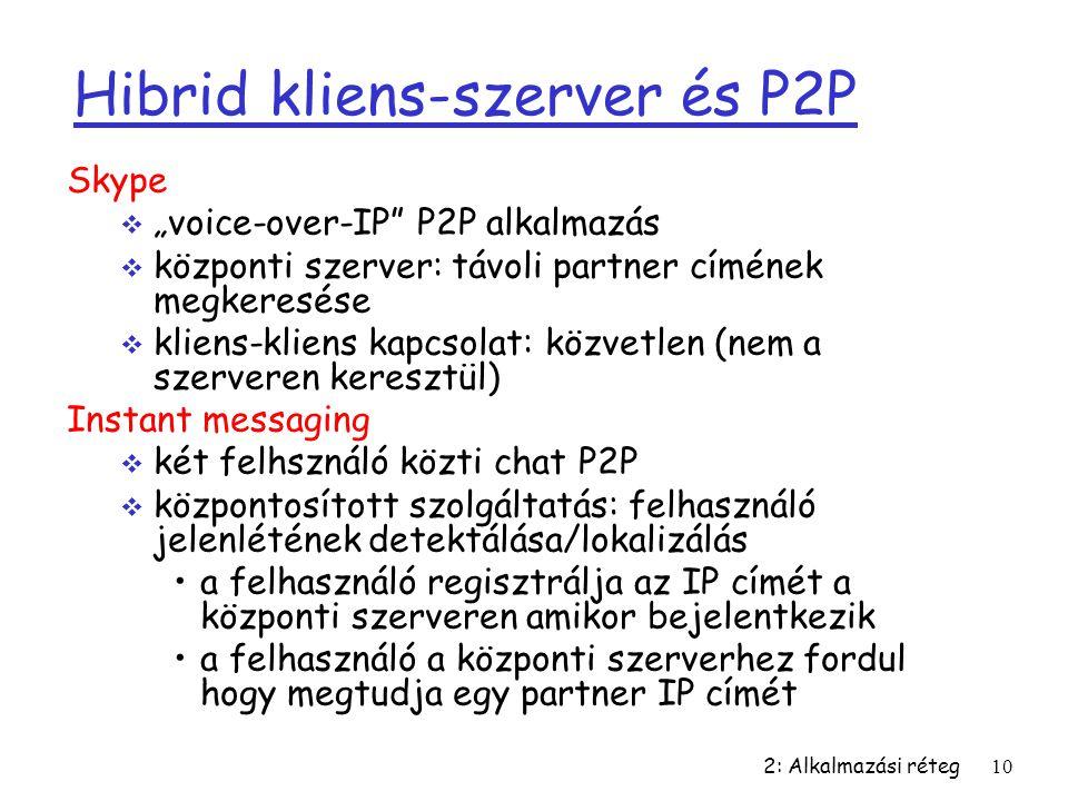 """2: Alkalmazási réteg10 Hibrid kliens-szerver és P2P Skype  """"voice-over-IP"""" P2P alkalmazás  központi szerver: távoli partner címének megkeresése  kl"""