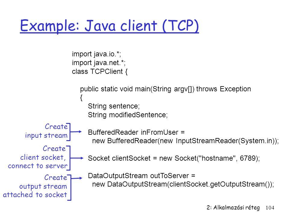 2: Alkalmazási réteg104 Example: Java client (TCP) import java.io.*; import java.net.*; class TCPClient { public static void main(String argv[]) throw
