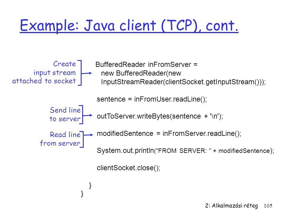2: Alkalmazási réteg105 Example: Java client (TCP), cont. BufferedReader inFromServer = new BufferedReader(new InputStreamReader(clientSocket.getInput