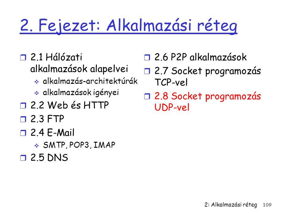 2: Alkalmazási réteg109 2. Fejezet: Alkalmazási réteg r 2.1 Hálózati alkalmazások alapelvei  alkalmazás-architektúrák  alkalmazások igényei r 2.2 We