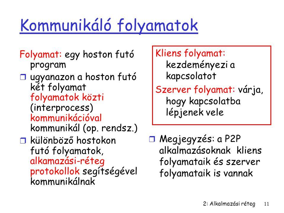 2: Alkalmazási réteg11 Kommunikáló folyamatok Folyamat: egy hoston futó program r ugyanazon a hoston futó két folyamat folyamatok közti (interprocess)