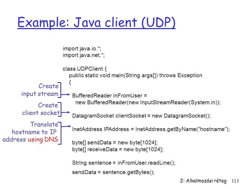 2: Alkalmazási réteg113 Example: Java client (UDP) import java.io.*; import java.net.*; class UDPClient { public static void main(String args[]) throw